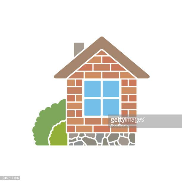 small house - brick house stock illustrations