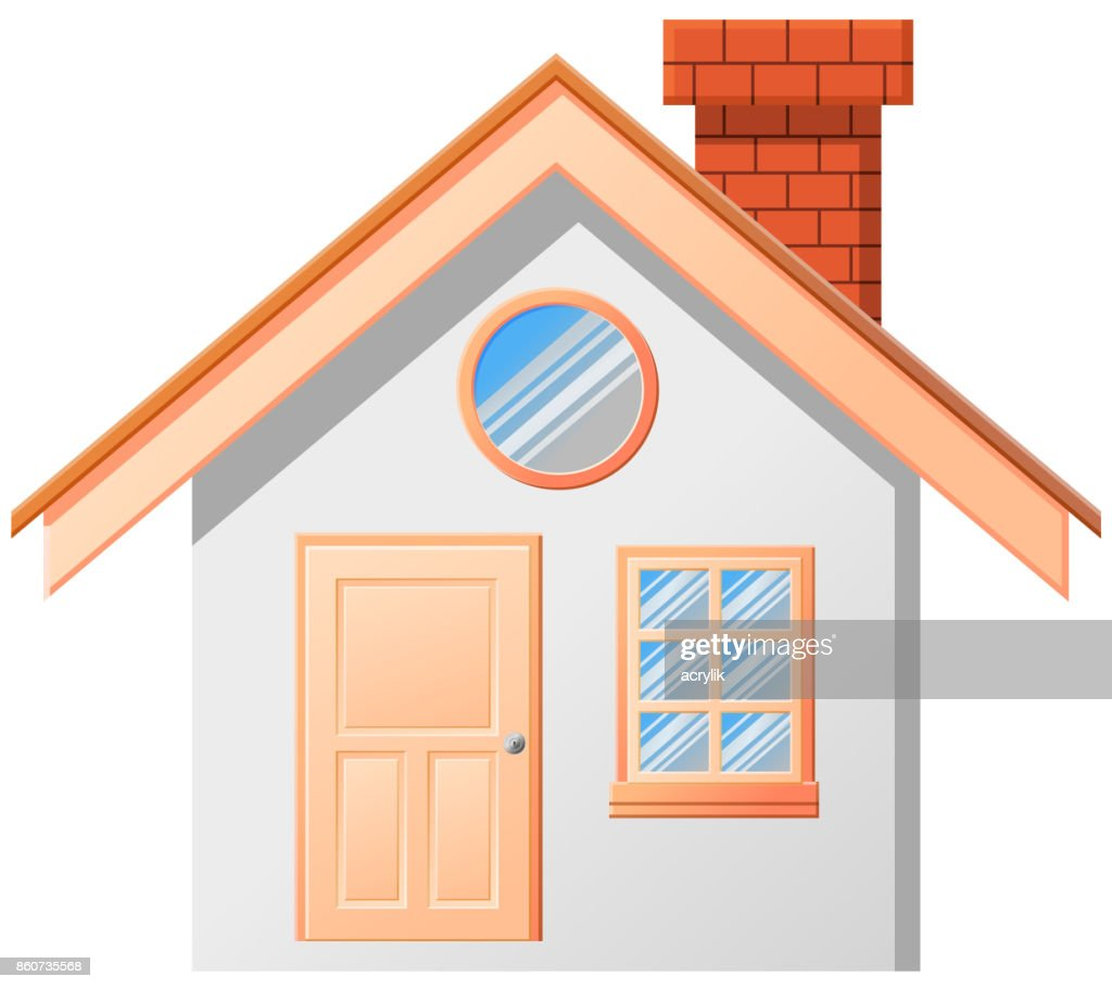 Small house with chimney vector icon