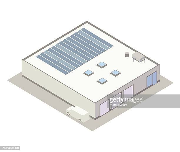 Small industrial building isometric illustration