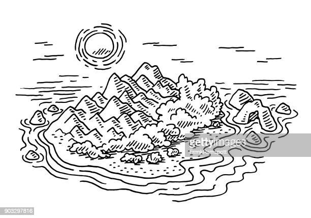 Kleine Insel touristische Destination Zeichnung