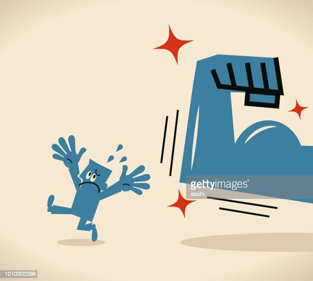 small man escaping from a strong arm with biceps - weakness stock illustrations