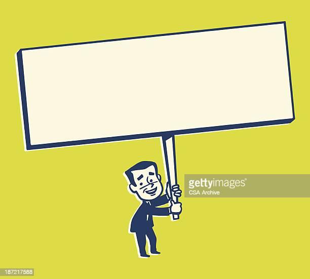 小型大きなサインが持つ男性 - セールスマン点のイラスト素材/クリップアート素材/マンガ素材/アイコン素材