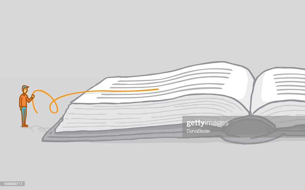 Small man reading between the lines interpreting a book