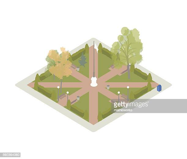 small park isometric illustration - mathisworks architecture stock illustrations