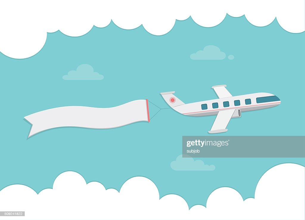 Small passenger plane carrying a banner. Flat style vector illustration.