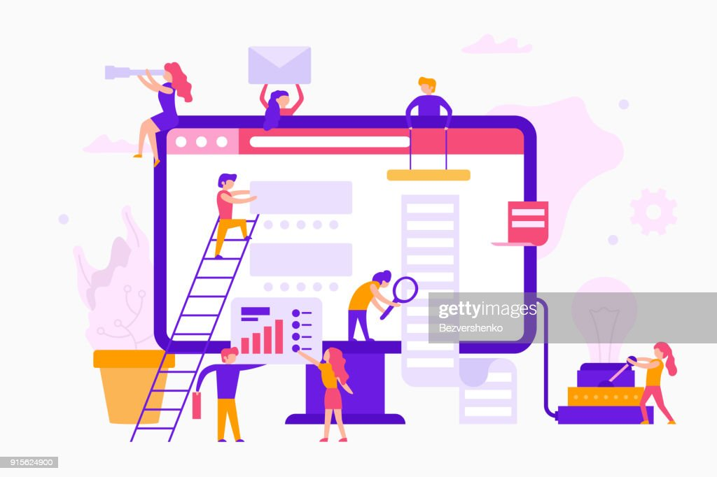 Small people around a monitor make a web site infographic. Teamwork business concept. Business workers together in minimal design vector flat illustration.