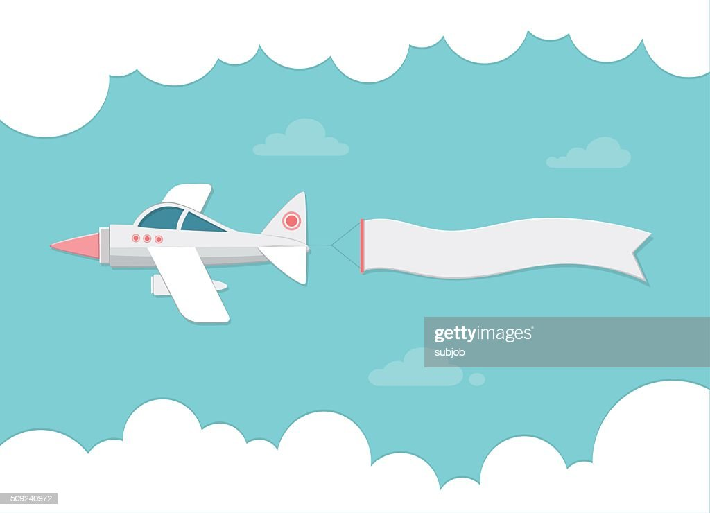 Small plane carrying a banner. Flat vector illustration for banners