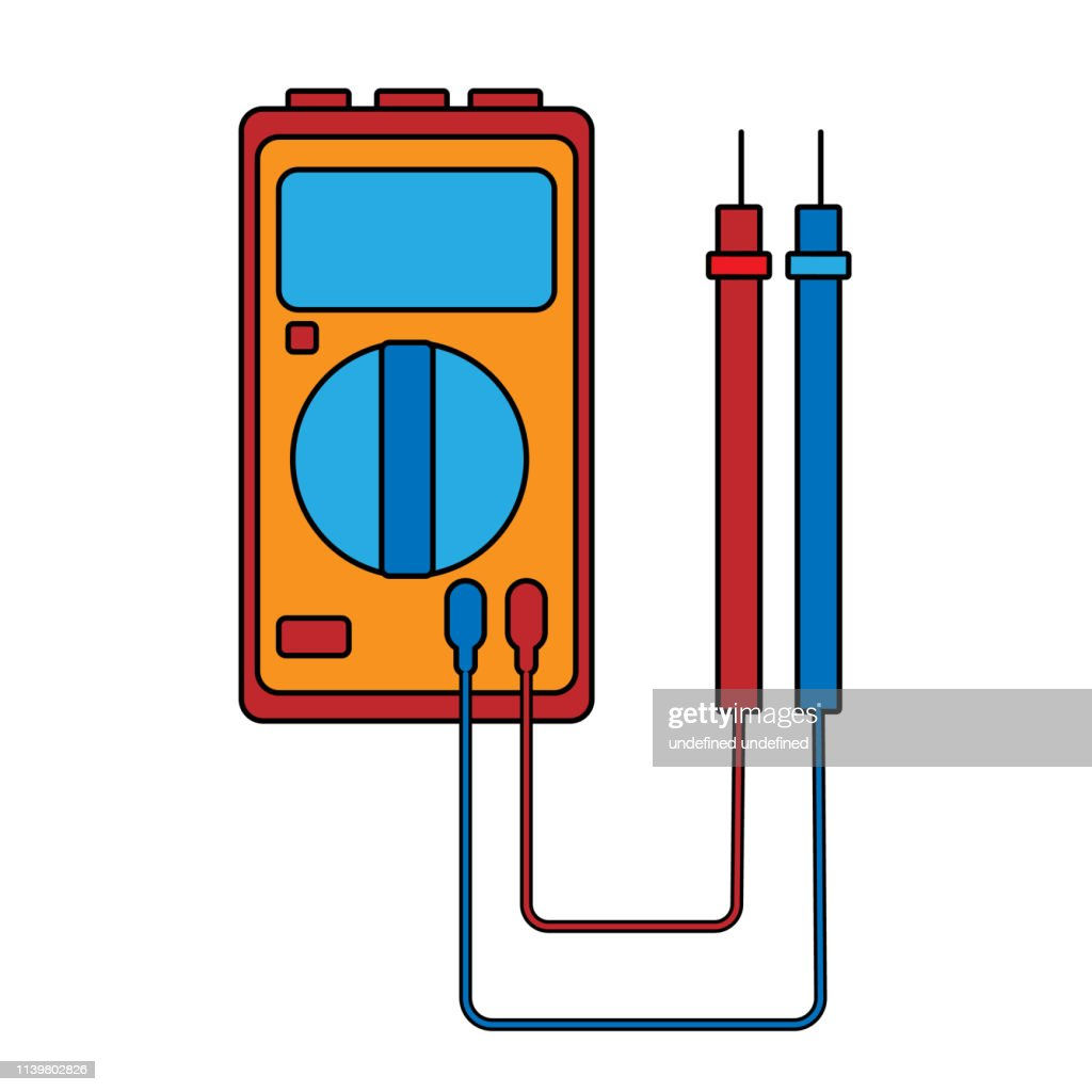 A small red blue electricity meter, tester, digital multimeter, for measuring AC, DC voltage, current, resistance, wiring damage and connections. Construction tool. Vector illustration