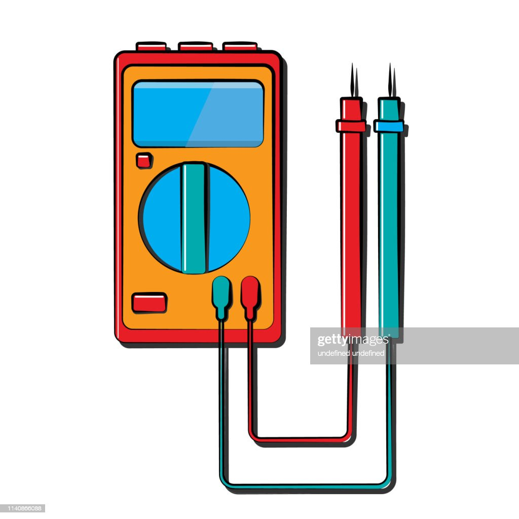 A small red blue electricity meter, tester, digital multimeter, for measuring AC, DC voltage, current, resistance, wiring damage and connections. Construction tool
