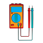 A small red blue electricity meter, tester, digital multimeter, for measuring AC, DC voltage, current, resistance, wiring damage and connections. Construction tool. Vector