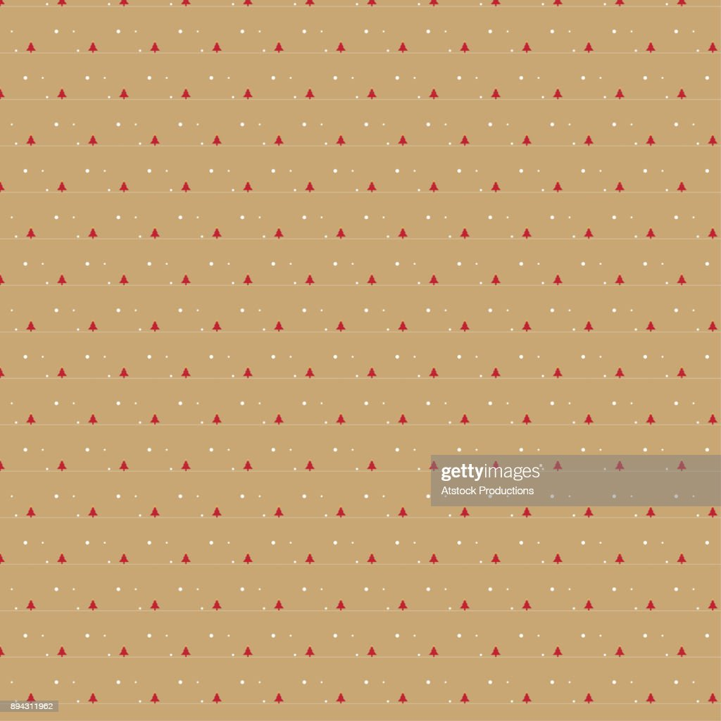Small red Christmas tree pattern on beige background