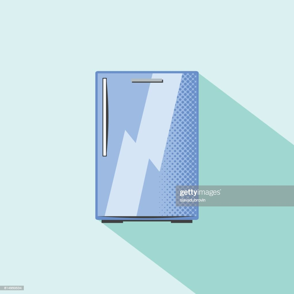 Small refrigerator. Built-in kitchen appliance flat style vector illustration.