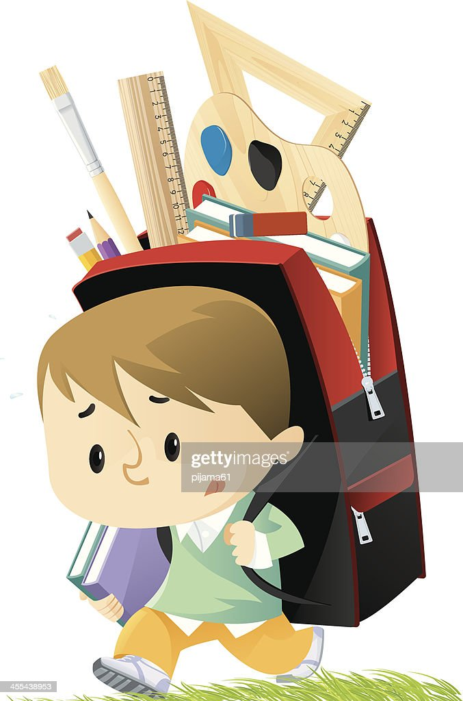 A small schoolboy with a backpack bigger than he is : stock illustration