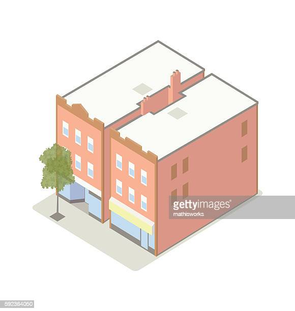 small shops with apartments isometric illustration - mathisworks architecture stock illustrations