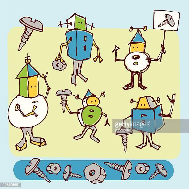 stockillustraties, clipart, cartoons en iconen met small sketchy robots - nut bolt