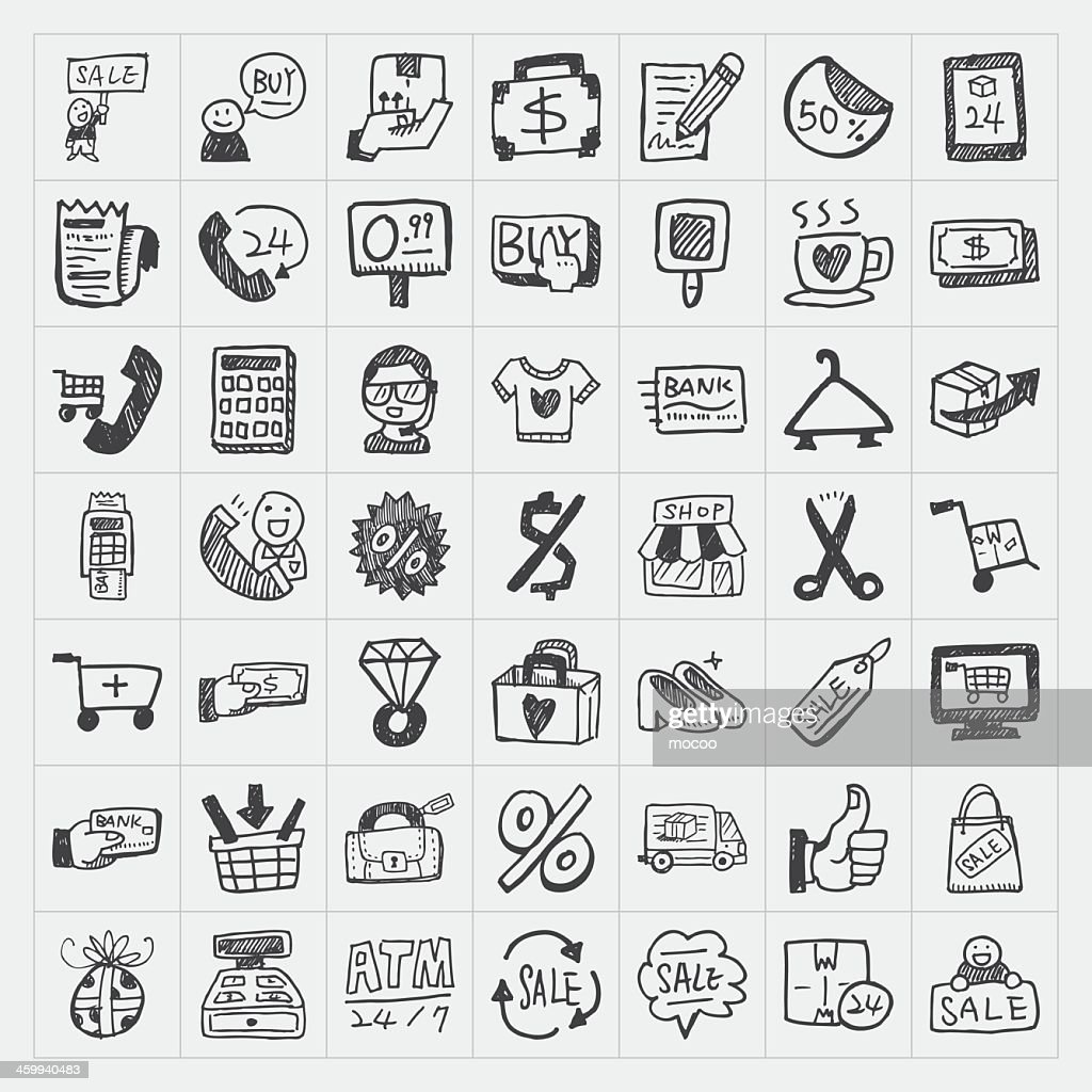 Small squares with cartoon icons of shopping items