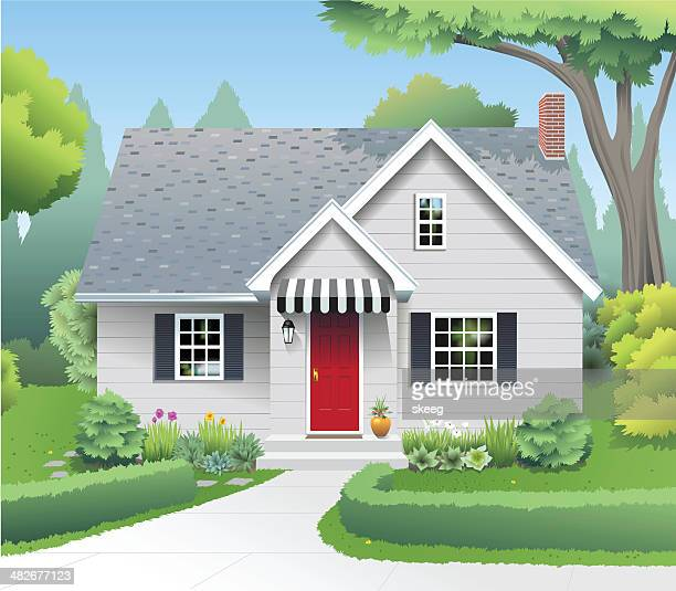 small suburban home - house stock illustrations