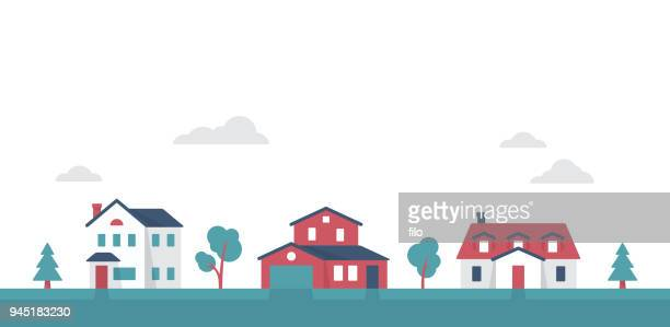 small suburban neighborhood community houses - town stock illustrations