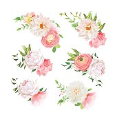 Small summer bouquets of rose, peony, ranunculus, dahlia, carnation