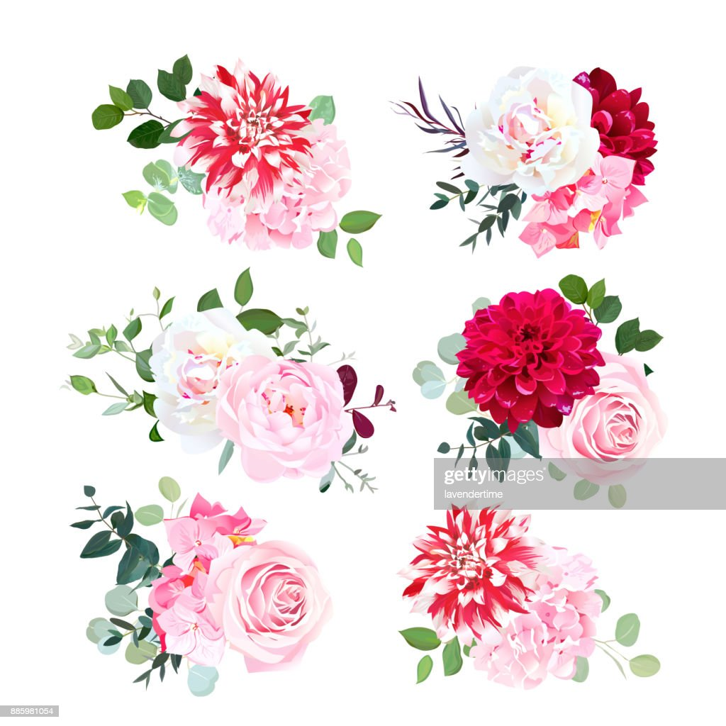 Small summer bouquets vector design set