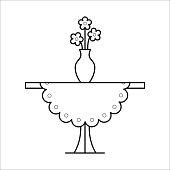 Small table home furniture lineart design, interior concept