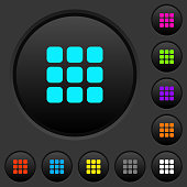 Small thumbnail view mode dark push buttons with color icons