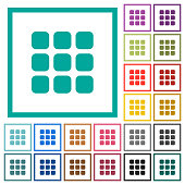 Small thumbnail view mode flat color icons with quadrant frames