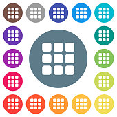 Small thumbnail view mode flat white icons on round color backgrounds
