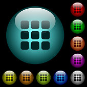 Small thumbnail view mode icons in color illuminated glass buttons
