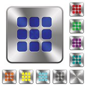 Small thumbnail view mode rounded square steel buttons