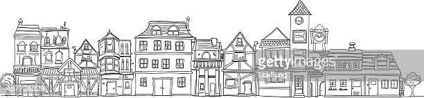 Small town illustraion in black and white