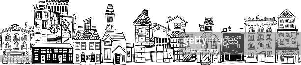 small town illustraion in black and white - house exterior stock illustrations, clip art, cartoons, & icons