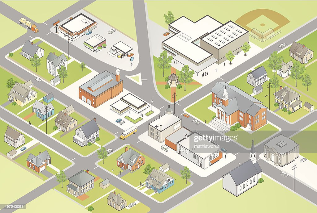 Small Town Illustration : stock illustration
