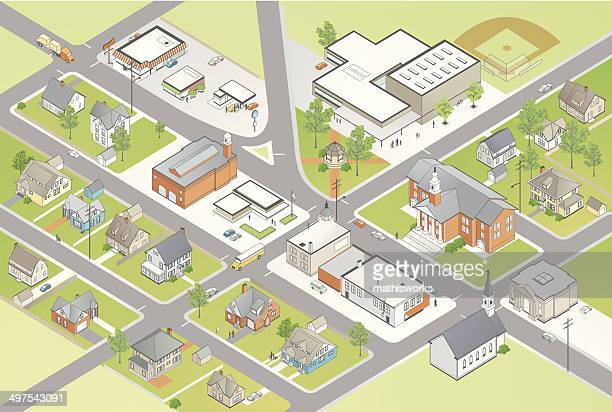 small town illustration - town stock illustrations
