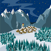 A small town in the mountains on the eve of Christmas. Illustration in flat style