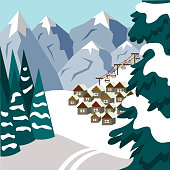 A small town in the mountains on the eve of Christmas. Illustration in flat style.
