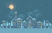 Small town in winter. Vector illustration of cute tower under snowfall at night.