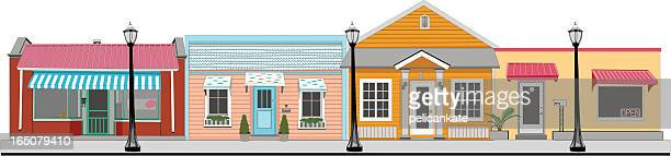 small town stores - small town america stock illustrations