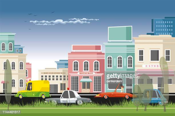 small town traffic - downtown district stock illustrations