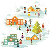 Small town urban Christmas winter landscape background in flat style