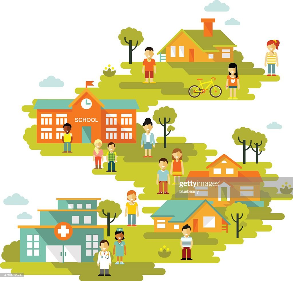 Small town urban landscape background in flat style