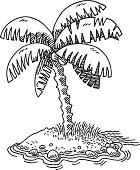 Small Tropical Island Palm Tree Drawing