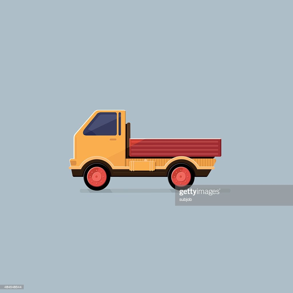 Small truck for transportation cargo isolated. Delivery service concept. Flat