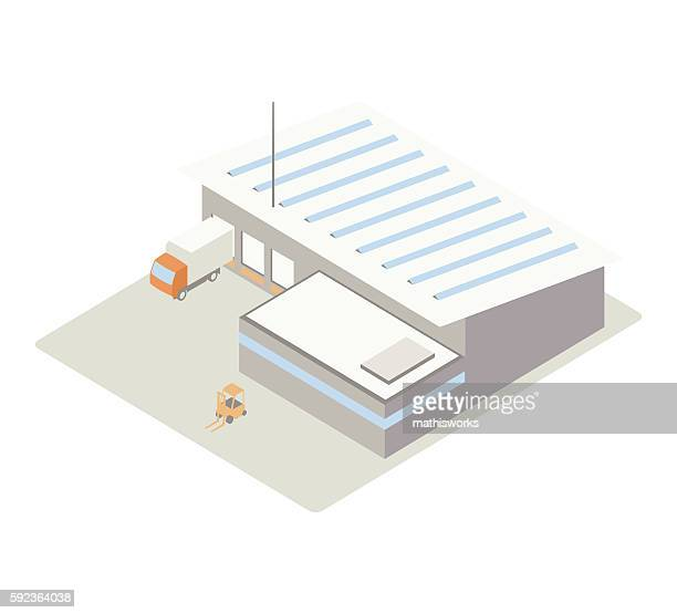 small warehouse isometric illustration - mathisworks architecture stock illustrations