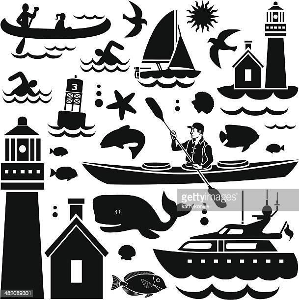 small watercraft design elements - massachusetts stock illustrations