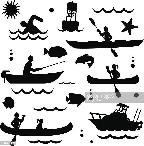 small watercraft - motorboating stock illustrations, clip art, cartoons, & icons