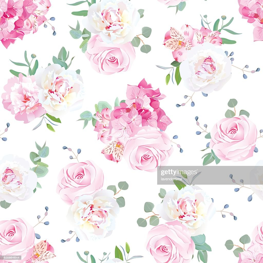 Small wedding bouquets vector seamless print