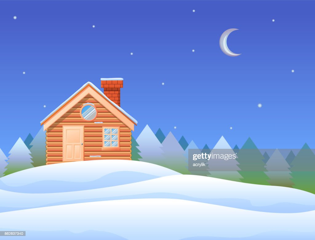 Small wooden cabin in snow mountain vector