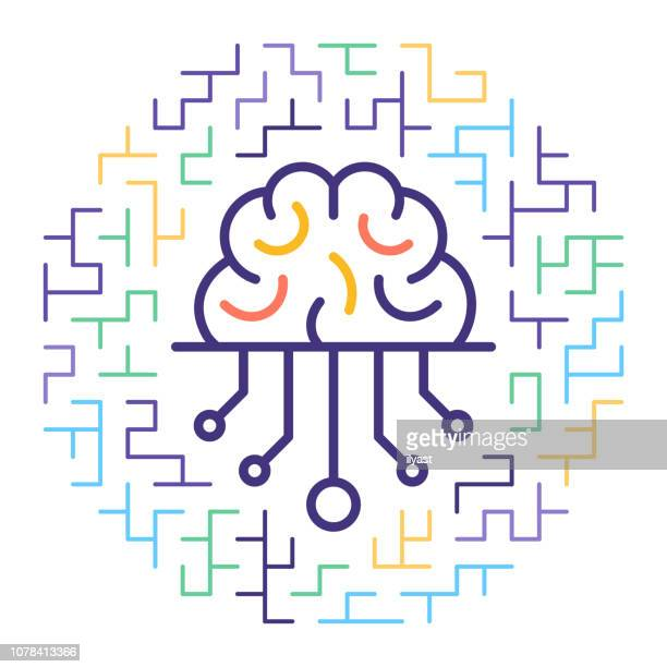smart artificial intelligence line icon illustration - machine learning stock illustrations