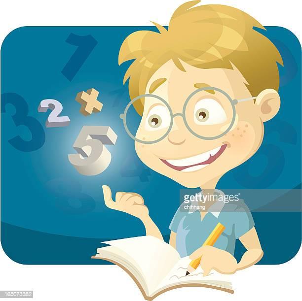 ilustrações de stock, clip art, desenhos animados e ícones de rapaz inteligente - matematica